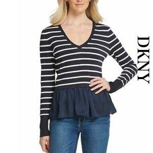 DKNY Navy Blue Striped Sweater
